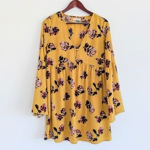 NWOT Urban Outfitters mustard yellow floral dress
